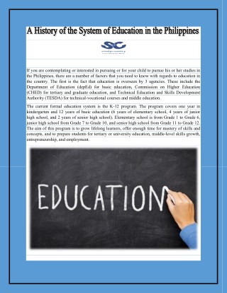 A History of the System of Education in the Philippines