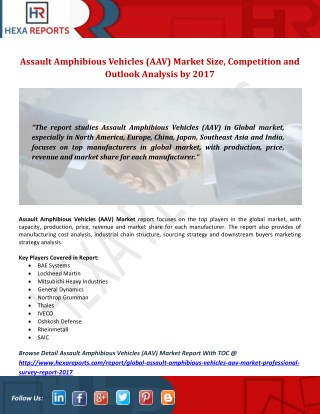 Assault Amphibious Vehicles (AAV) Market Size, Competition and Outlook Analysis by 2017
