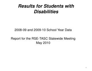 Results for Students with Disabilities