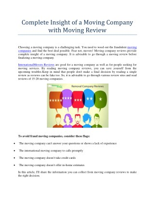 Complete Insight of a Moving Company with Moving Review