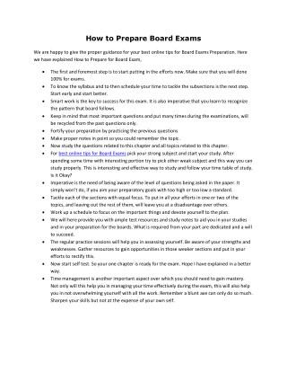 How to Prepare Board Exams