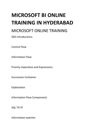 MICROSOFT BI ONLINE TRAINING IN HYDERABAD