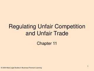 Regulating Unfair Competition and Unfair Trade
