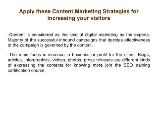 Apply these Content Marketing Strategies for increasing your visitors