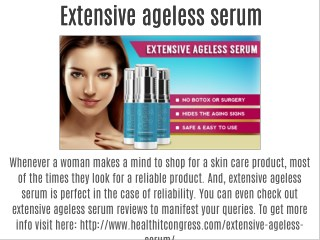 Extensive ageless serum