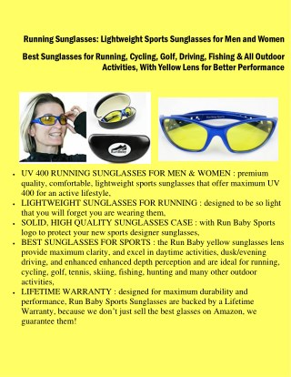 Running Sunglasses : Lightweight Sports Sunglasses for Men and Women