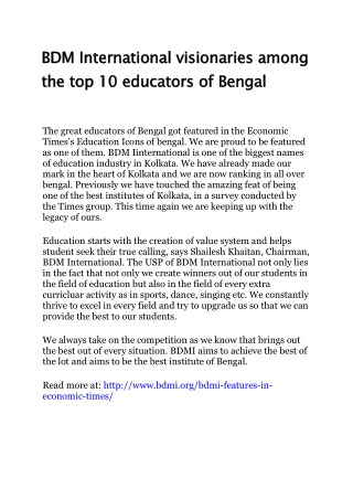 BDM International visionaries among the top 10 educators of Bengal