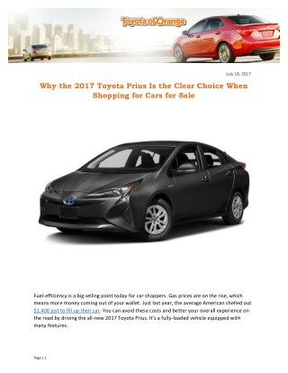 Why the 2017 Toyota Prius Is the Clear Choice When Shopping for Cars for Sale