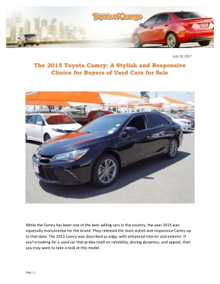 The 2015 Toyota Camry: A Stylish and Responsive Choice for Buyers of Used Cars for Sale