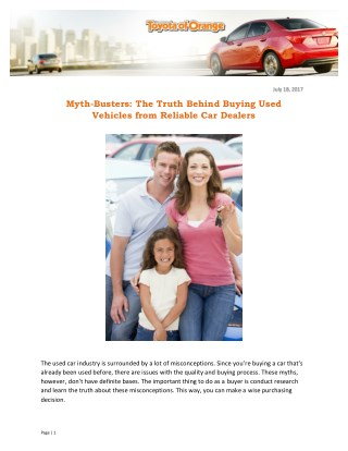 Myth-Busters: The Truth Behind Buying Used Vehicles from Reliable Car Dealers