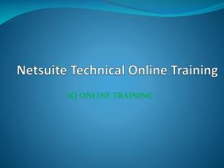 Netsuite Technical Online Training -  IQ Online Training