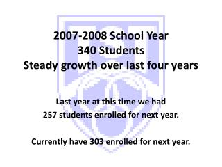 2007-2008 School Year  340 Students Steady growth over last four years