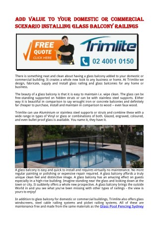 Add Value To Your Domestic or Commercial Scenario Installing Glass Balcony Railings