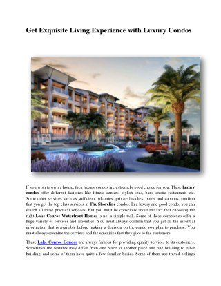 Get Exquisite Living Experience with Luxury Condos