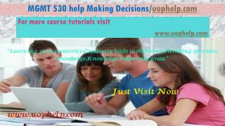 MGMT 530 help Making Decisions/uophelp.com