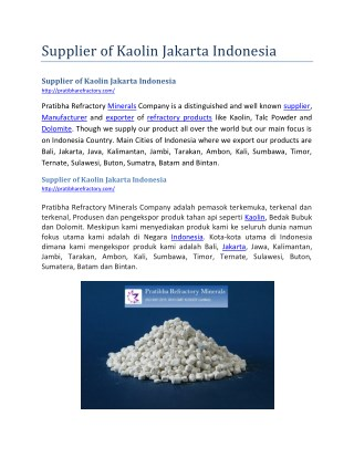 Supplier of Kaolin Jakarta Indonesia