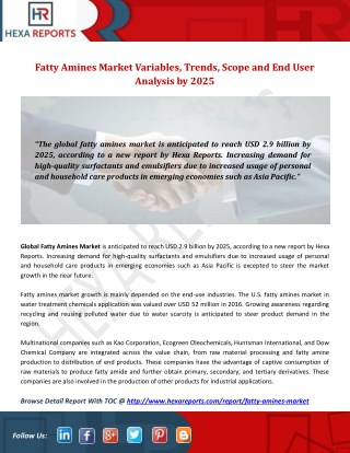 Fatty Amines Market Variables, Trends, Scope and End User Analysis by 2025
