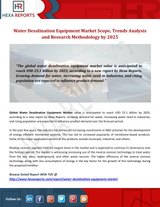 Water Desalination Equipment Market Scope, Trends Analysis and Research Methodology by 2025