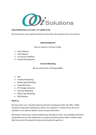 Digital Marketing | web Development Company | Ooi Solutions