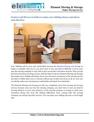 Packers and Movers in Dallas to make your shifting always smoothest and effortless