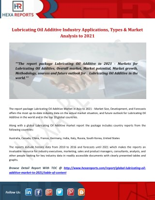 Lubricating Oil Additive Industry Applications, Types & Market Analysis to 2021
