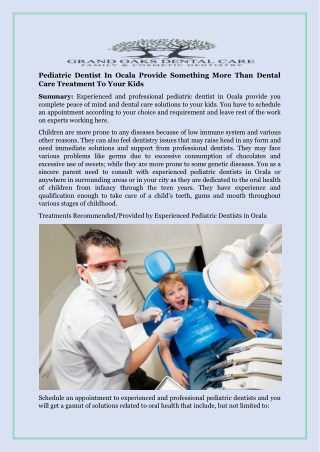 Pediatric Dentist In Ocala Provide Something More Than Dental Care Treatment To Your Kids