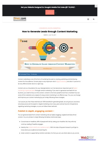 How to Generate Leads through Content Marketing