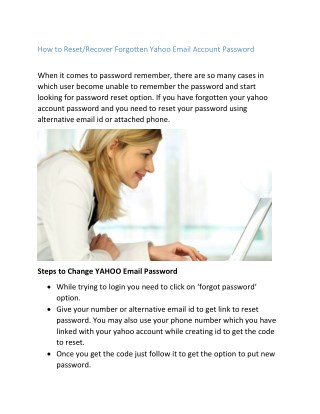 How to Reset/Recover Forgotten Yahoo Email Account Password
