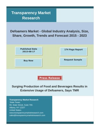 Defoamers Market - Analysis, Demand, Growth, Trends, and Forecast 2015 - 2023