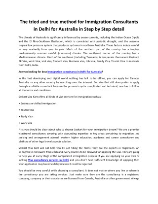The tried and true method for Immigration Consultants in Delhi for Australia in Step by Step detail