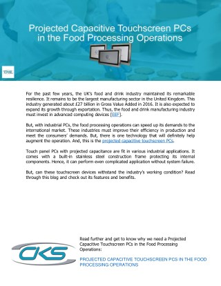 Projected Capacitive Touchscreen PCs in the Food Processing Operations
