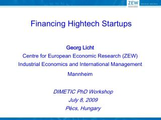 Financing Hightech Startups