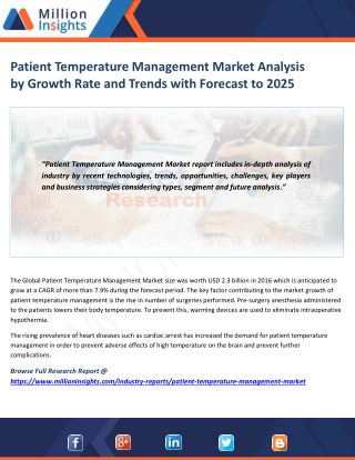 Patient Temperature Management Market Share, Market Size, Market Trends and Analysis to 2025