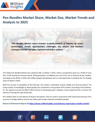 Pen Needles Market Study by Key Manufacturers, Regions, Type and Application to 2025