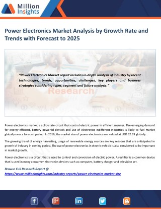 Power Electronics Market Share, Market Size, Market Trends and Analysis to 2025