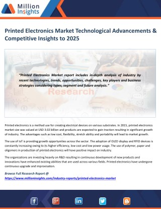 Printed Electronics Market Segmentation, Opportunities, Trends & Future Scope to 2025