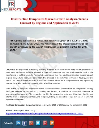 Construction Composites Market Growth Analysis, Trends Forecast by Regions and Application to 2021