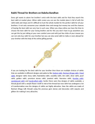 Rakhi Thread for Brothers on Raksha Bandhan