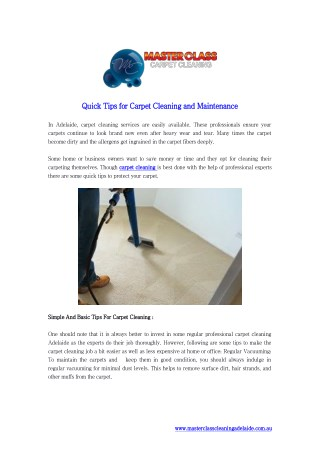 Quick Tips for Carpet Cleaning and Maintenance