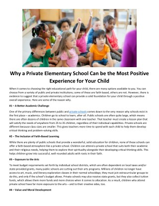 Why a Private Elementary School Can be the Most Positive Experience for Your Child