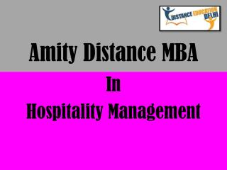 Amity Distance MBA in Hospitality Management