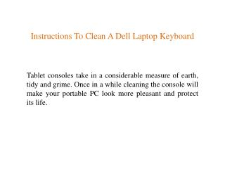 Instructions To Clean A Dell Laptop Keyboard