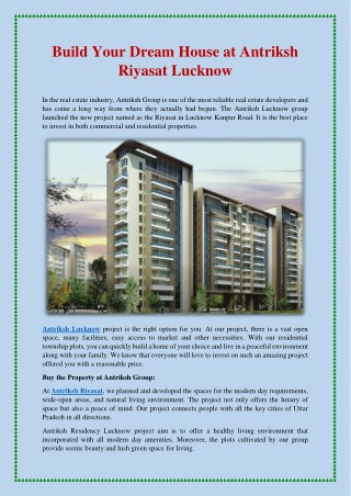 Build Your Dream House at Antriksh Riyasat Lucknow