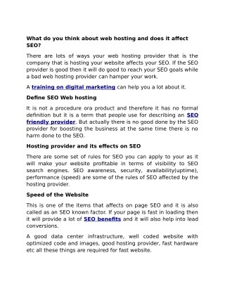 What do you think about web hosting and does it affect SEO?