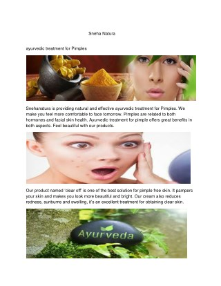 ayurvedic treatment for Pimples