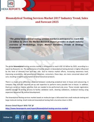 Bioanalytical Testing Services Market 2017 Industry Trend, Sales and Forecast 2025