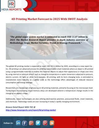 4D Printing Market Forecast to 2025 With SWOT Analysis
