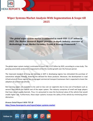 Wiper Systems Market Analysis With Segmentation & Scope till 2025