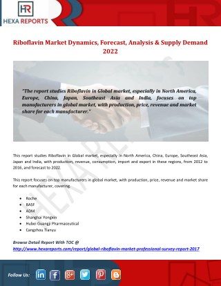Riboflavin Market Dynamics, Forecast, Analysis & Supply Demand 2022