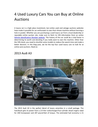 4 Used Luxury Cars You can Buy at Online Auctions